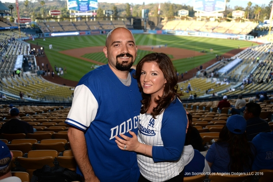 Great Los Angeles Dodger fans pose  prior to game against the New York Mets Thursday, May 12, 2016 at Dodger Stadium in Los Angeles,California.  Jon SooHoo/©Los Angeles Dodgers,LLC 2016