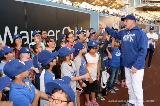 Vision to Learn kids talk to  A.J. Ellis prior to game against the New York Mets Thursday, May 12, 2016 at Dodger Stadium in Los Angeles,California.  Jon SooHoo/©Los Angeles Dodgers,LLC 2016