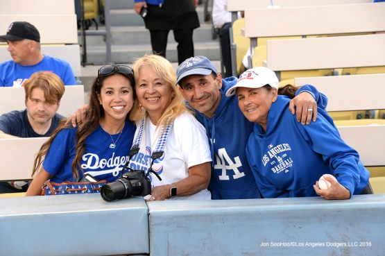 Great Los Angeles Dodgers fans pose prior to game against the New York Mets Thursday, May 12, 2016 at Dodger Stadium in Los Angeles,California.  Jon SooHoo/©Los Angeles Dodgers,LLC 2016