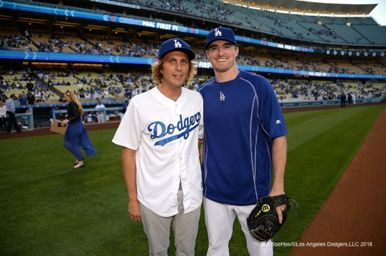 Los Angeles Dodgers Ross Stripling poses with Aaron Bruno prior to game against the New York Mets Thursday, May 12, 2016 at Dodger Stadium in Los Angeles,California.  Jon SooHoo/©Los Angeles Dodgers,LLC 2016