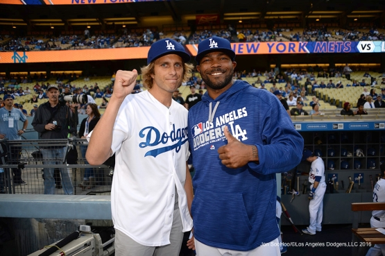 Los Angeles Dodgers Howie Kendrick poses with Aaron Bruno prior to game against the New York Mets Thursday, May 12, 2016 at Dodger Stadium in Los Angeles,California.  Jon SooHoo/©Los Angeles Dodgers,LLC 2016
