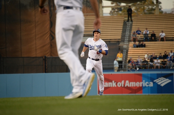 Los Angeles Dodgers Chase Utley takes third against the New York Mets Thursday, May 12, 2016 at Dodger Stadium in Los Angeles,California.  Jon SooHoo/©Los Angeles Dodgers,LLC 2016