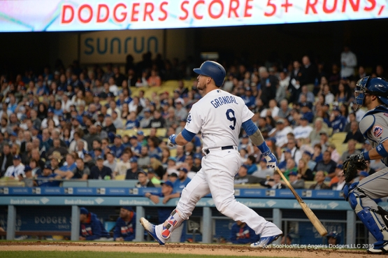 Los Angeles Dodgers Yasmani Grandal hits a three run home run  against the New York Mets Thursday, May 12, 2016 at Dodger Stadium in Los Angeles,California.  Jon SooHoo/©Los Angeles Dodgers,LLC 2016