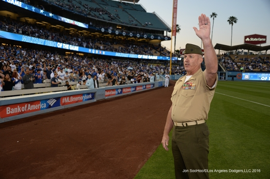 Los Angeles Dodgers Military Hero of the Game US Marine Corp Sergeant Major Paul Hayes waves to the crowd during game against the New York Mets Thursday, May 12, 2016 at Dodger Stadium in Los Angeles,California.  Jon SooHoo/©Los Angeles Dodgers,LLC 2016