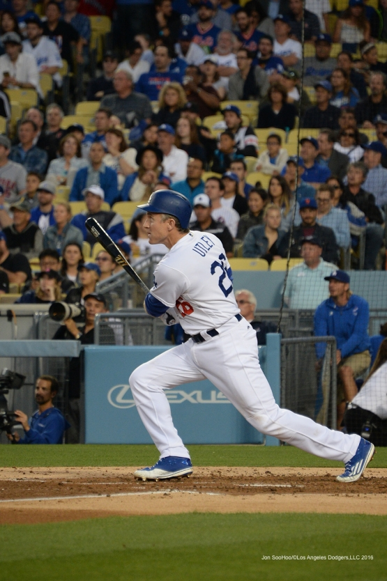 Los Angeles Dodgers Chase Utley homers against the New York Mets Thursday, May 12, 2016 at Dodger Stadium in Los Angeles,California.  Jon SooHoo/©Los Angeles Dodgers,LLC 2016