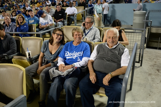 Tommy Lasorda and Drysdales pose during game against the New York Mets Thursday, May 12, 2016 at Dodger Stadium in Los Angeles,California.  Jon SooHoo/©Los Angeles Dodgers,LLC 2016