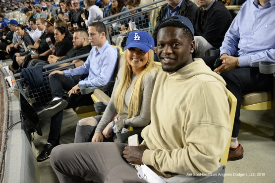 Lakers Julius Randle poses during Los Angeles Dodgers game against the New York Mets Thursday, May 12, 2016 at Dodger Stadium in Los Angeles,California.  Jon SooHoo/©Los Angeles Dodgers,LLC 2016