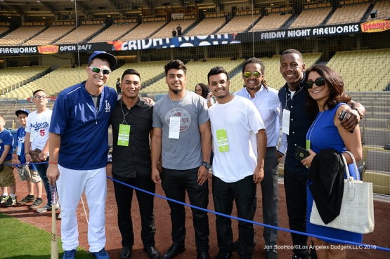 Guests of Joc Pederson pose prior to game against the St. Louis Cardinals Friday, May 13, 2016 at Dodger Stadium in Los Angeles, California.  Jon SooHoo/©Los Angeles Dodgers,LLC 2016