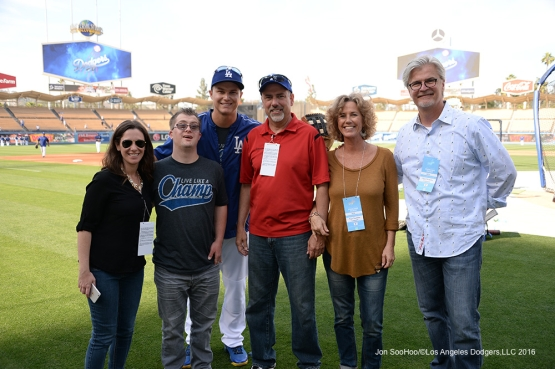 Guests of Joc and Champ Pederson pose prior to game against the St. Louis Cardinals Friday, May 13, 2016 at Dodger Stadium in Los Angeles, California.  Jon SooHoo/©Los Angeles Dodgers,LLC 2016
