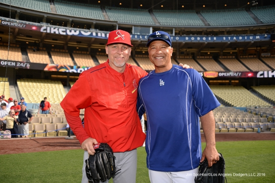 Former 2004 World Champion Red Sox teammates Bill Mueller and Dave Roberts pose prior to game Friday, May 13, 2016 at Dodger Stadium in Los Angeles, California.  Jon SooHoo/©Los Angeles Dodgers,LLC 2016