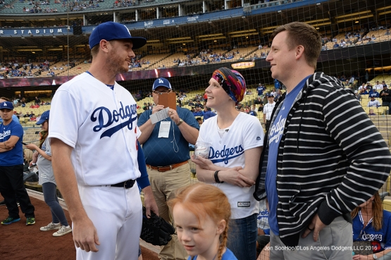 Los Angeles Dodgers Honorary Bat Girl Melissa Stockhoff and her husband meet with Scott Kazmir prior to game against the St. Louis Cardinals Friday, May 13, 2016 at Dodger Stadium in Los Angeles, California.  Jon SooHoo/©Los Angeles Dodgers,LLC 2016