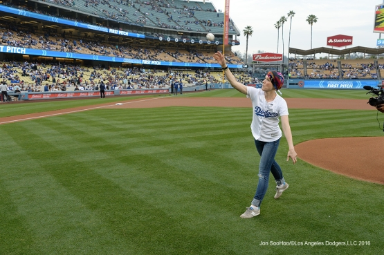 Los Angeles Dodgers Honorary Bat Girl Melissa Stockhoff throws out the first pitch prior to game against the St. Louis Cardinals Friday, May 13, 2016 at Dodger Stadium in Los Angeles, California.  Jon SooHoo/©Los Angeles Dodgers,LLC 2016