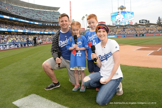Los Angeles Dodgers Honorary Bat Girl Melissa Stockhoff and her family pose prior to game against the St. Louis Cardinals Friday, May 13, 2016 at Dodger Stadium in Los Angeles, California.  Jon SooHoo/©Los Angeles Dodgers,LLC 2016