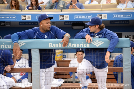 Los Angeles Dodgers Carl Crawford and Charlie Culberson talk prior to game against the St. Louis Cardinals Friday, May 13, 2016 at Dodger Stadium in Los Angeles, California.  Jon SooHoo/©Los Angeles Dodgers,LLC 2016