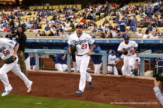 Los Angeles Dodgers Adrian Gonzalez takes the field prior to game against the St. Louis Cardinals Friday, May 13, 2016 at Dodger Stadium in Los Angeles, California.  Jon SooHoo/©Los Angeles Dodgers,LLC 2016