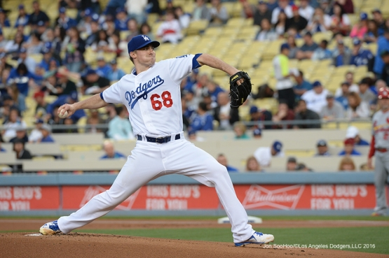 Los Angeles Dodgers  Ross Stripling pitches against the St. Louis Cardinals Friday, May 13, 2016 at Dodger Stadium in Los Angeles, California.  Jon SooHoo/©Los Angeles Dodgers,LLC 2016
