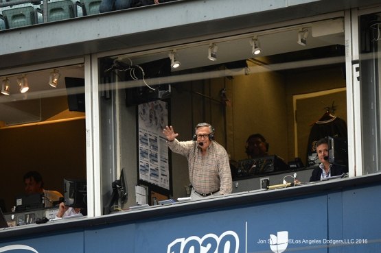 Los Angeles Dodgers Jaime Jarrin waves to the crowd during game against the St. Louis Cardinals Friday, May 13, 2016 at Dodger Stadium in Los Angeles, California.  Jon SooHoo/©Los Angeles Dodgers,LLC 2016