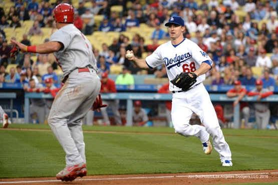 Los Angeles Dodgers Ross Stripling gets Cardinals Kolten Wong caught in a run down during game against the St. Louis Cardinals Friday, May 13, 2016 at Dodger Stadium in Los Angeles, California.  Jon SooHoo/©Los Angeles Dodgers,LLC 2016