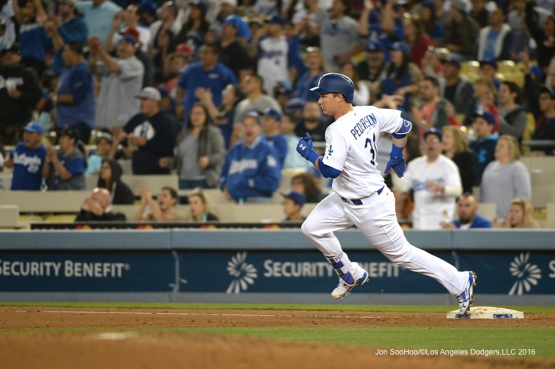 Los Angeles Dodgers Joc Pederson takes second during game against the St. Louis Cardinals Friday, May 13, 2016 at Dodger Stadium in Los Angeles, California.  Jon SooHoo/©Los Angeles Dodgers,LLC 2016