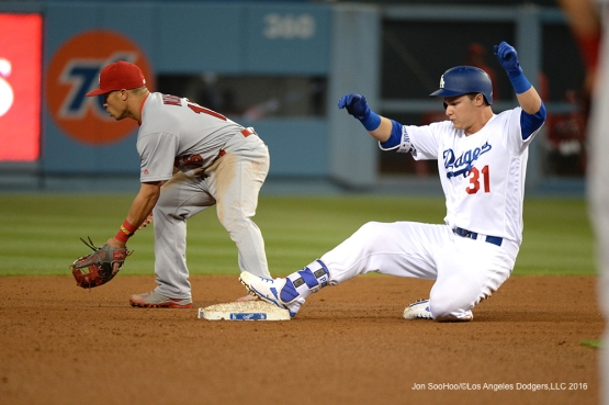 Los Angeles Dodgers Joc Pederson is safe at second during game against the St. Louis Cardinals Friday, May 13, 2016 at Dodger Stadium in Los Angeles, California.  Jon SooHoo/©Los Angeles Dodgers,LLC 2016
