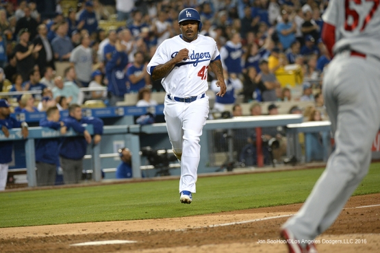Los Angeles Dodgers Howie Kendrick scores against the St. Louis Cardinals Friday, May 13, 2016 at Dodger Stadium in Los Angeles, California.  Jon SooHoo/©Los Angeles Dodgers,LLC 2016