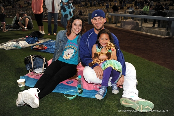 The Grandal family pose after game against the St. Louis Cardinals Friday, May 13, 2016 at Dodger Stadium in Los Angeles, California.  Jon SooHoo/©Los Angeles Dodgers,LLC 2016