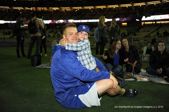 Joe Blanton and son pose after game against the St. Louis Cardinals Friday, May 13, 2016 at Dodger Stadium in Los Angeles, California.  Jon SooHoo/©Los Angeles Dodgers,LLC 2016