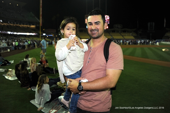 Los Angeles Dodgers Adrian Gonzalez poses after win against the St. Louis Cardinals Friday, May 13, 2016 at Dodger Stadium in Los Angeles, California.  Jon SooHoo/©Los Angeles Dodgers,LLC 2016