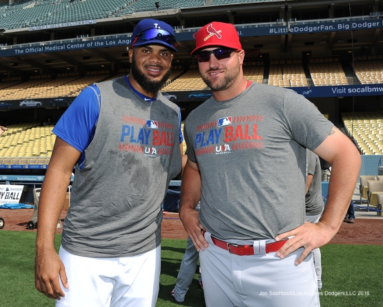 Los Angeles Dodgers closer Kenley Jansen poses with former Dodgers closer Jonathan Broxton prior to game against the St. Louis Cardinals Saturday, May 14, 2016 at Dodger Stadium in Los Angeles, California.  Jon SooHoo/©Los Angeles Dodgers,LLC 2016