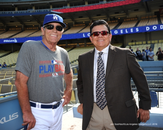 Steve Yeager and Fernando Valenzuela pose  prior to game against the St. Louis Cardinals Saturday, May 14, 2016 at Dodger Stadium in Los Angeles, California.  Jon SooHoo/©Los Angeles Dodgers,LLC 2016