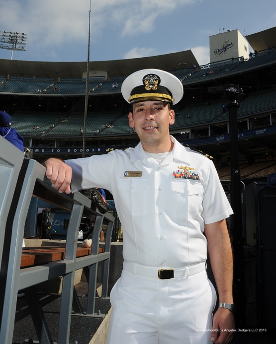 Los Angeles Dodgers Military hero of the game US Navy Lieutenant, Rodil Hernandez poses prior to game against the St. Louis Cardinals Saturday, May 14, 2016 at Dodger Stadium in Los Angeles, California.  Jon SooHoo/©Los Angeles Dodgers,LLC 2016