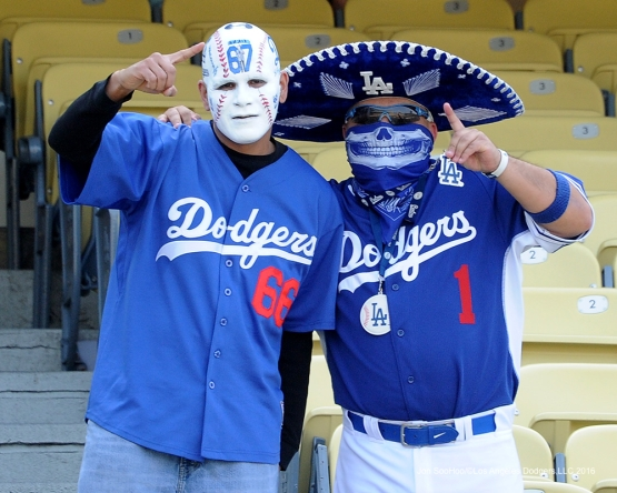 Great Los Angeles Dodgers fans pose prior to game against the St. Louis Cardinals Saturday, May 14, 2016 at Dodger Stadium in Los Angeles, California.  Jon SooHoo/©Los Angeles Dodgers,LLC 2016