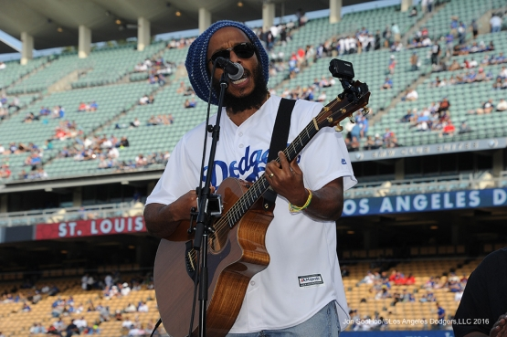 Ziggy Marley sings Saturday, May 14, 2016 at Dodger Stadium in Los Angeles, California.  Jon SooHoo/©Los Angeles Dodgers,LLC 2016