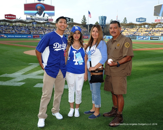 Great Los Angeles Dodgers fans from UPS pose prior to game against the St. Louis Cardinals Saturday, May 14, 2016 at Dodger Stadium in Los Angeles, California.  Jon SooHoo/©Los Angeles Dodgers,LLC 2016