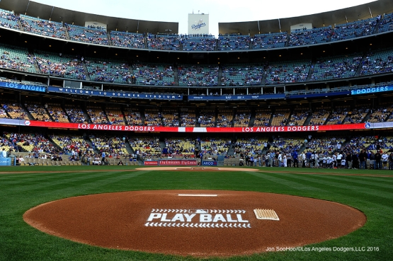 PLAY BALL--Los Angeles Dodgers game against the St. Louis Cardinals Saturday, May 14, 2016 at Dodger Stadium in Los Angeles, California.  Jon SooHoo/©Los Angeles Dodgers,LLC 2016