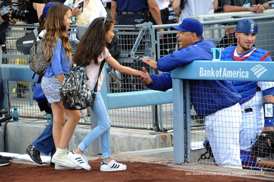 Los Angeles Dodgers Dave Roberts greets fans prior to game against the St. Louis Cardinals Saturday, May 14, 2016 at Dodger Stadium in Los Angeles, California.  Jon SooHoo/©Los Angeles Dodgers,LLC 2016
