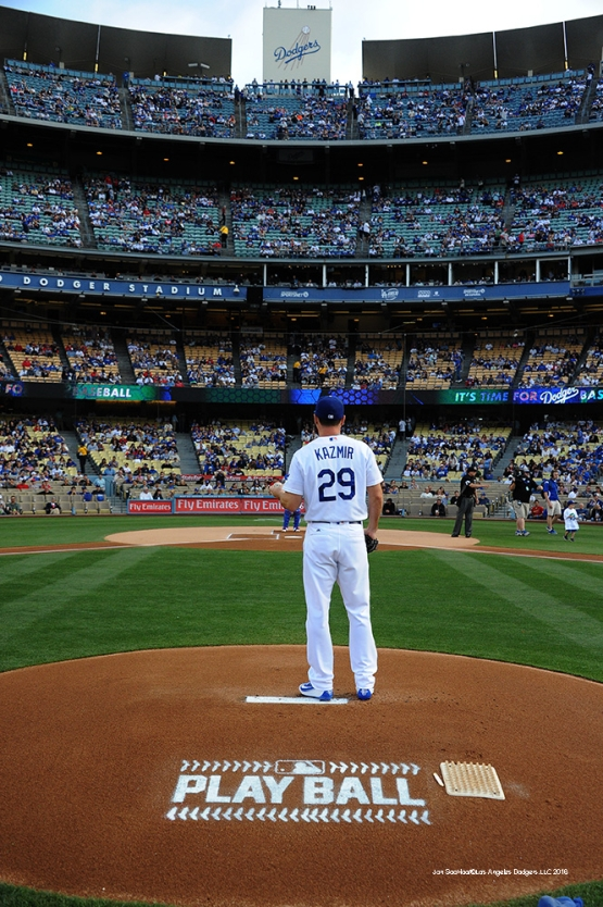 Los Angeles Dodgers Scott Kazmir on the mound against the St. Louis Cardinals Saturday, May 14, 2016 at Dodger Stadium in Los Angeles, California.  Jon SooHoo/©Los Angeles Dodgers,LLC 2016