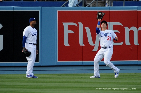 Los Angeles Dodgers Joc Pederson catches fly ball against the St. Louis Cardinals Saturday, May 14, 2016 at Dodger Stadium in Los Angeles, California.  Jon SooHoo/©Los Angeles Dodgers,LLC 2016
