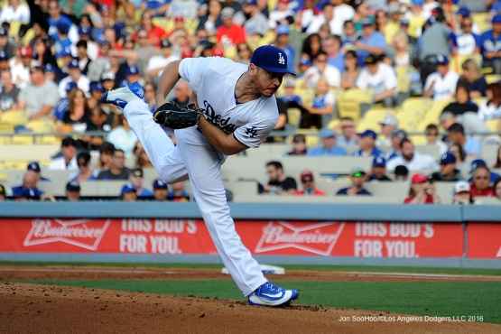 Los Angeles Dodgers Scott Kazmir pitches against the St. Louis Cardinals Saturday, May 14, 2016 at Dodger Stadium in Los Angeles, California.  Jon SooHoo/©Los Angeles Dodgers,LLC 2016