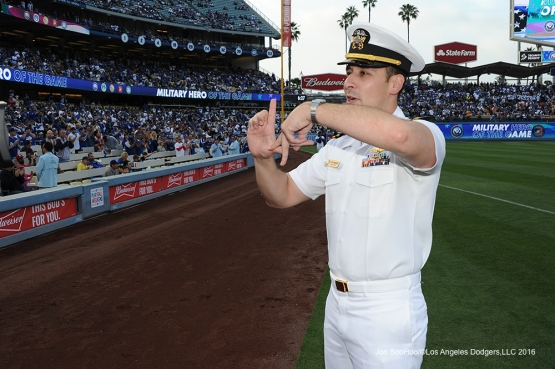 Los Angeles Dodgers Military hero of the game US Navy Lieutenant, Rodil Hernandez during game against the St. Louis Cardinals Saturday, May 14, 2016 at Dodger Stadium in Los Angeles, California.  Jon SooHoo/©Los Angeles Dodgers,LLC 2016