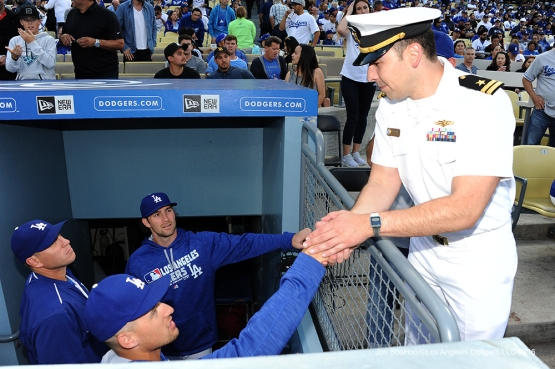 Los Angeles Dodgers Military hero of the game US Navy Lieutenant, Rodil Hernandez meets players during game against the St. Louis Cardinals Saturday, May 14, 2016 at Dodger Stadium in Los Angeles, California.  Jon SooHoo/©Los Angeles Dodgers,LLC 2016
