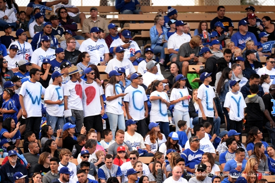 Great Los Angeles Dodgers/Vin Scully fans pose prior to game against the St. Louis Cardinals Saturday, May 14, 2016 at Dodger Stadium in Los Angeles, California.  Jon SooHoo/©Los Angeles Dodgers,LLC 2016