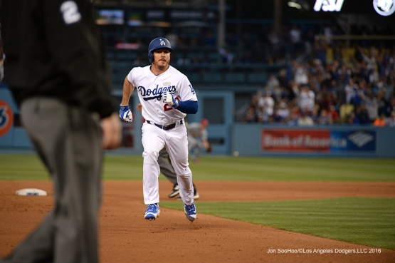 Los Angeles Dodgers Scott Kazmir take third against the St. Louis Cardinals Saturday, May 14, 2016 at Dodger Stadium in Los Angeles, California.  Jon SooHoo/©Los Angeles Dodgers,LLC 2016