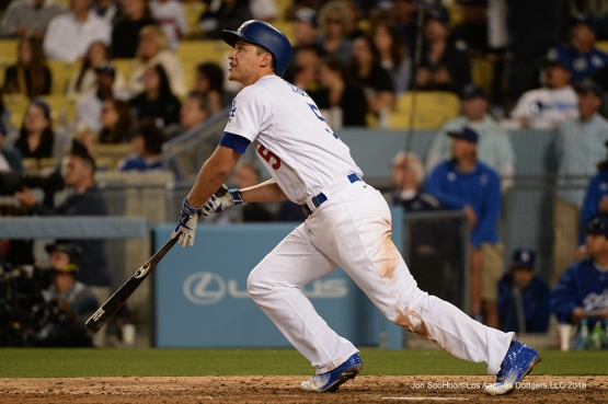 Los Angeles Dodgers Corey Seager homers against the St. Louis Cardinals Saturday, May 14, 2016 at Dodger Stadium in Los Angeles, California.  Jon SooHoo/©Los Angeles Dodgers,LLC 2016
