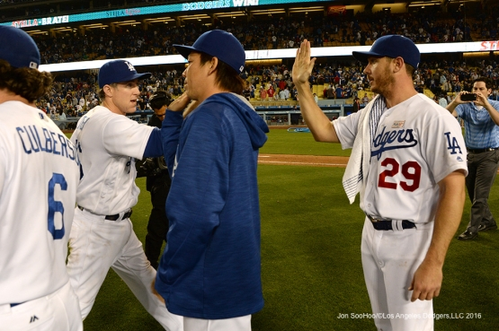 Los Angeles Dodgers celebrate win against the St. Louis Cardinals Saturday, May 14, 2016 at Dodger Stadium in Los Angeles, California.  Jon SooHoo/©Los Angeles Dodgers,LLC 2016