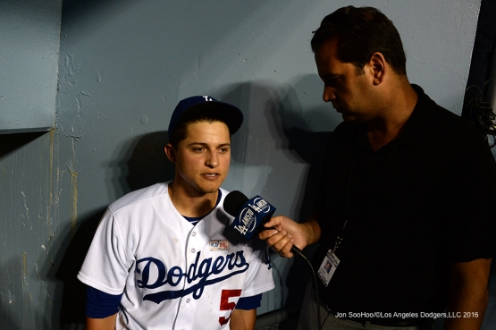 Los Angeles Dodgers Corey Seager speaks to David Vassegh after win  against the St. Louis Cardinals Saturday, May 14, 2016 at Dodger Stadium in Los Angeles, California.  Jon SooHoo/©Los Angeles Dodgers,LLC 2016