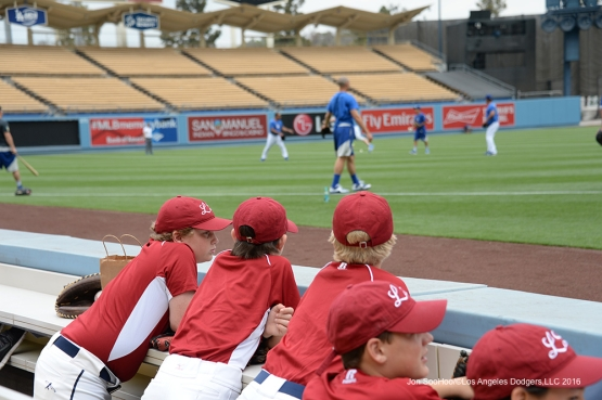 Little leaguers from Manhattan Beach watch the Dodgers workout prior to game against the St. Louis Cardinals Sunday, May 15, 2016 at Dodger Stadium in Los Angeles, California.  Jon SooHoo/©Los Angeles Dodgers,LLC 2016