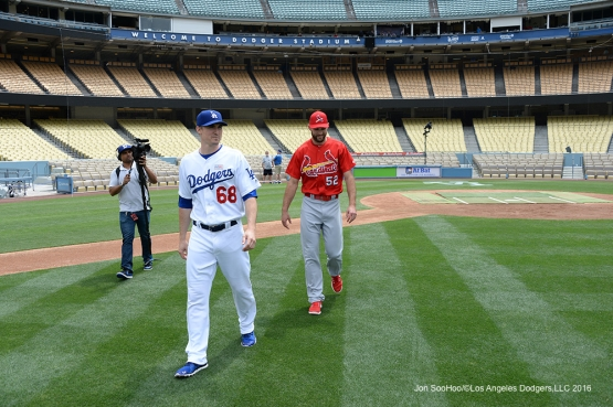 Ross Stripling and Michael Wacha head to their photo session prior to game against the St. Louis Cardinals Sunday, May 15, 2016 at Dodger Stadium in Los Angeles, California.  Jon SooHoo/©Los Angeles Dodgers,LLC 2016