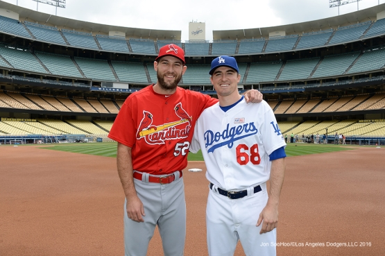 Ross Stripling and Michael Wacha pose prior to game against the St. Louis Cardinals Sunday, May 15, 2016 at Dodger Stadium in Los Angeles, California.  Jon SooHoo/©Los Angeles Dodgers,LLC 2016