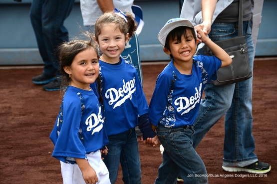 PLAY BALL parade around the warning track prior to game against the St. Louis Cardinals Sunday, May 15, 2016 at Dodger Stadium in Los Angeles, California.  Jon SooHoo/©Los Angeles Dodgers,LLC 2016